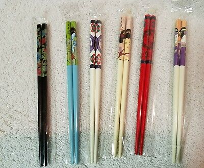 3.14.20) Lot of 6 pairs sets Asian Chinese Hair Sticks wooden new factory sealed