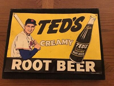 Ted Williams ~Boston Red Sox~Ted's Creamy Root Beer ~ Advertising Metal Sign~