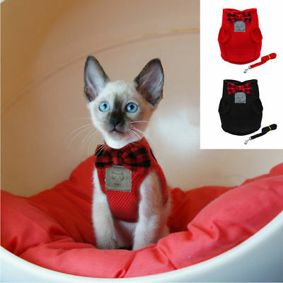 Cat Harness and Leash Mesh Bowtie Small Cat Walking Harness Pet Kitten Clothes