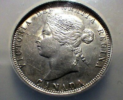 High Grade 1885 Canadian 25 Cent NGC Slabbed Coin