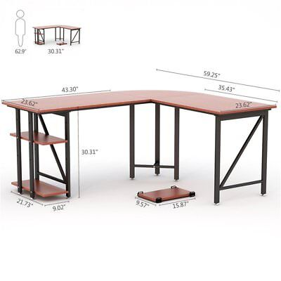L-Shaped Corner Desk with Side Storage Large Top Surface and 2 Open Bookshelves