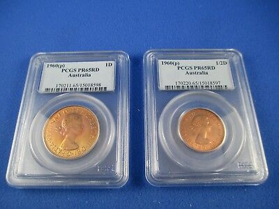 1960 Perth PROOF Penny and Half Penny Pair PCGS graded PR65RD. Nice coins!