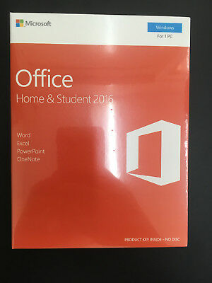 Genuine Retail Microsoft Office 2016 Home and Student 1 PC