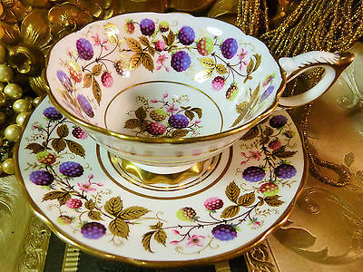 Royal Stafford  Tea Cup And Saucer ~Golden Bramble~ Hp Berries Gold Leaves Trim