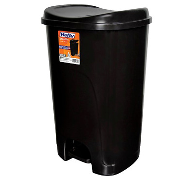 Hefty Step-On Hands-Free 13-Gallon Plastic Black Trash Can Office Home Kitchen