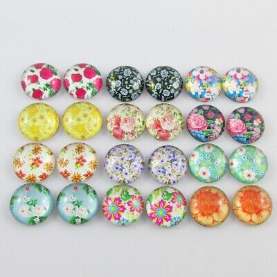 Glass Dome Flower Garden Cabochon 12mm Select 10 or 20 pieces in random pairs