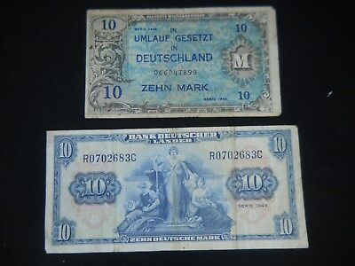 1944 GERMANY 10 MARK  BANKNOTE (WARTIME) and a 1948 (POST WAR) 10 MARK BANKNOTE