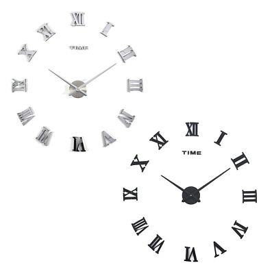 DIY 3D Wall Clock Roman Numerals Large Mirrors Surface Luxury Big Art Clock ^G