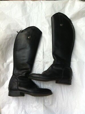 High leg black leather rear zip & stud Riding Boots size  5 ....38 small horse R