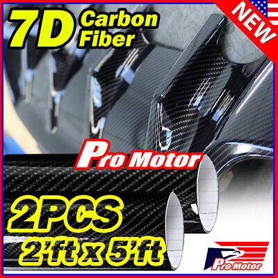 4' x 5' FT 7D Premium Hi Gloss Black Carbon Fiber Vinyl Wrap Bubble Free Release