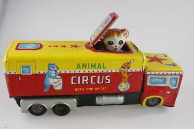 Vintage Japanese Kanto Friction Tin Toy Animal Circus Truck Pop Up Cat