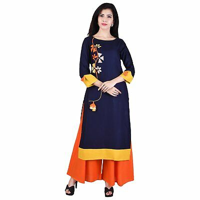 Indian Bollywood Kurta Kurti Designer Women Rayon Kurti Ethnic Embroiled Dress