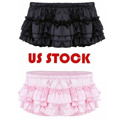 Mens Satin Ruffle Shorts Bloomer Skirted Lingerie Pouch Briefs Underwear Panties