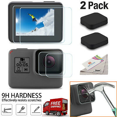 GoPro Hero 5/6 Ultra Clear Tempered Glass Screen and Lens Protector Cap Covers