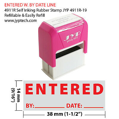 """ Entered w. picture."" Self Inking Rubber Stamp - JYP 4911R-19  RED INK"
