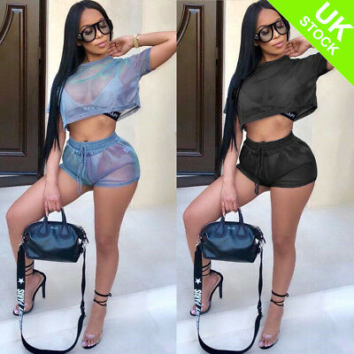 Women Sports Mesh See Through Crop Top Shorts Tracksuit Playsuit Co ord Outfits