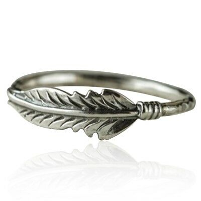 1pc Antique Solid Silver Feather Ring Stacking Rings Party Wedding Jewelry