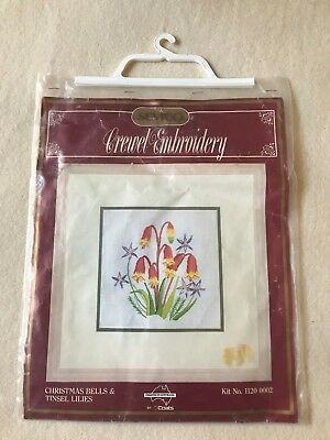 Wildflower SEMCO crewel embroidery tapestry kit christmas bells tinsel lilies