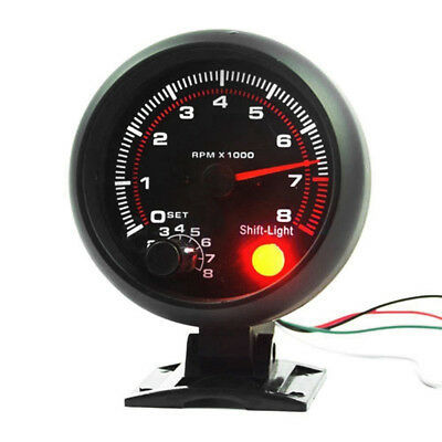 12V 3.75In Car Engine Rev Counter Tacho Tachometer Shift Light With Mounting Kit