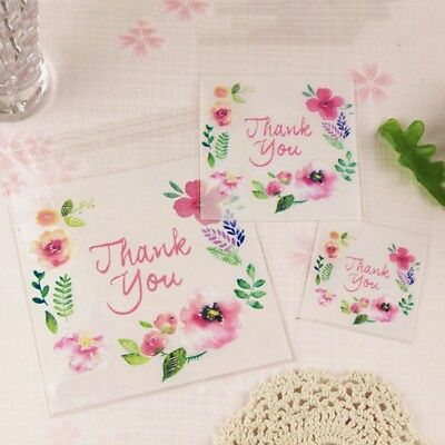 100pcs Clear Gift Bags Thank You Candy Cookie DIY Self-adhesive Biscuits Bags