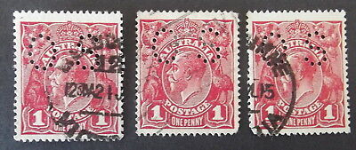 AUSTRALIA - 3 X 1d RED  KGV  PERFERATED OS - S/C - USED