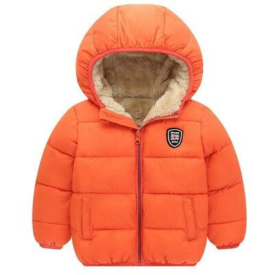Baby Girls Boys Warm Winter Short Jacket Cotton Thick Hooded Coat Child Clothing