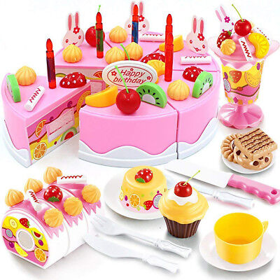 75Pcs Plastic Kitchen Cutting Toy Birthday Cake Pretend Play Food Set Kids Gifts