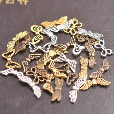 50Pcs Tibetan Silver, Gold, Bronze, Angel Wings Spacer Charms Beads A57