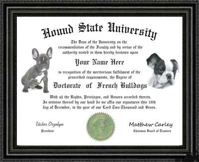French Bulldog Lover's Doctorate Diploma / Degree Custom made & Designed for you