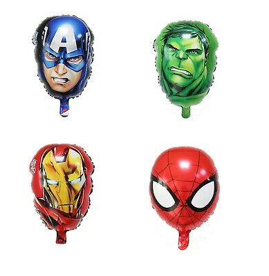 Avengers Balloons 16 inch Foil Face Hulk Iron Man Captain America Spiderman