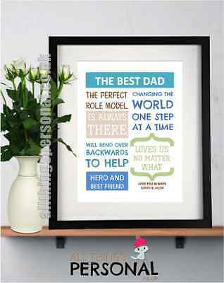 Fathers Day Gift DADDY DAD GRANDAD BIRTHDAY Christmas Personalised Print Gifts