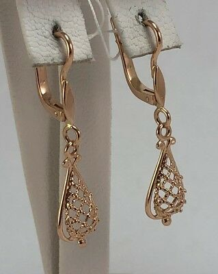 Huge Original Rare Vintage Antique USSR Soviet Russian Gold 583 14K Earrings