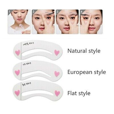 3styles/set Grooming Reusable Stencils Kit Shaping Beauty Eyebrow Drawing Guide