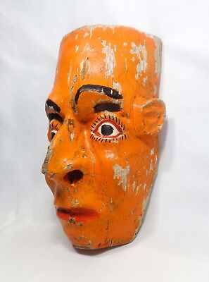 Early-Mid 20Th C Vint Latin American Handcarved Folk Art Wood Mask. W/orig Paint
