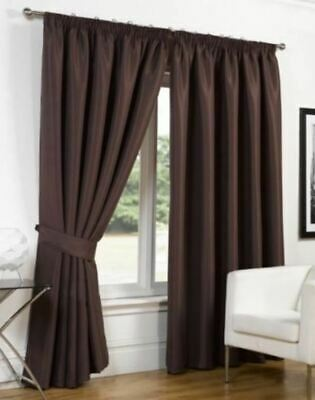 """Dreamscene Blackout Curtains Supersoft Thermal Faux Silk Chocolate 46"""" x 72"""""""