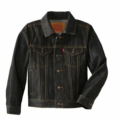 Levi's Kids Jean Jacket Trucker Red Tab Youth Levi Denim Coat, Dark Wash $40