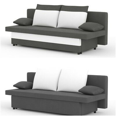 Sofa Bed with Storage 3 Three Seater Settee in Grey White Black Red Fabric GABI