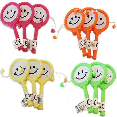 Smiley Mini Toy Hand Drum Rattle Toys Kids Maraca Birthday Party Loot Bag Filler