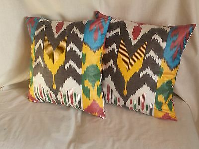 "Pillowcase Silk Ikat, Set of two, 15"" made in Uzbekistan"