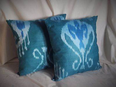 "Silk Ikat Pillowcase, Set of two, 15"" made in Uzbekistan plus a gift"