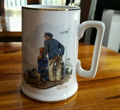 Norman Rockwell Looking Out to Sea Coffee Tea Mug Cup Sailor Boy Dog