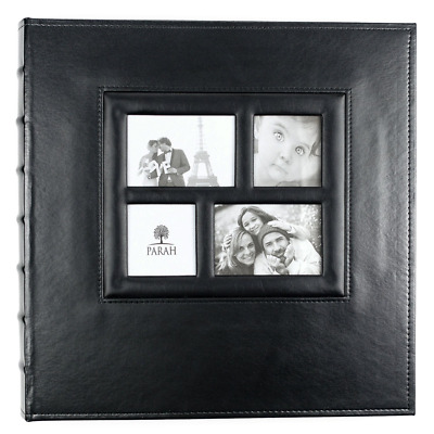 """Faux Leather Family Photo Album W/ Built In Frame For 500 4x6"""" Pictures Black"""
