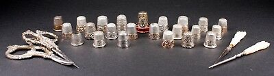 Antique Victorian Sterling Silver & 14K Gold Band Thimble + Sewing Scissor Lot