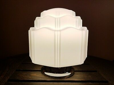 Vintage Art Deco Milk Glass Skyscraper Shade Ceiling Mount Light Fixture