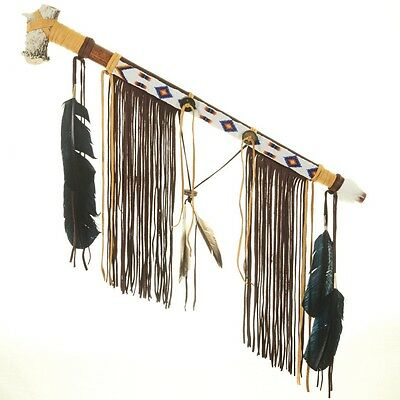 Handmade Peace Pipe Buckskin, Antler Bowl and Feathers