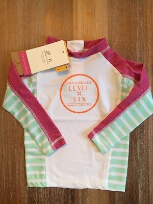 Girl's Stella Long Sleeve Rash Guard by Level Six UPF50+ Sz 2T White Pink NWT