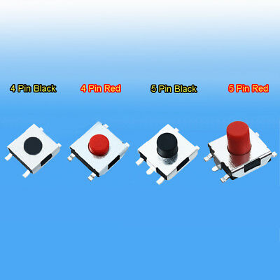 6x6mm Hight 2.5~5.5mm Red Black Mini Momentary Tactile Push Button Switch SMD