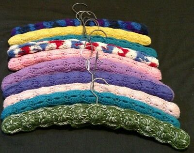 Lot of 10 Vintage Yarn Covered Crochet over Wood Clothes Hangers Mid Century