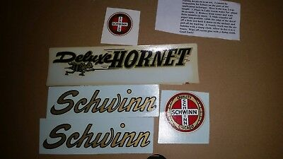 Vintage Schwinn Approved Deluxe Hornet Bicycle Chain guard Decal Set