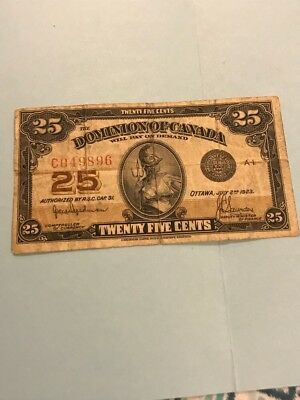 1923 Dominion of Canada Twenty Five Cents 25C Fractional Note